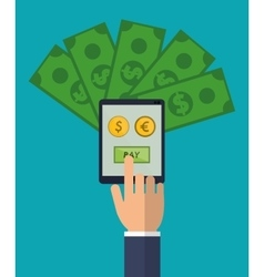 hand holds smartphone pay euro dollar money vector image