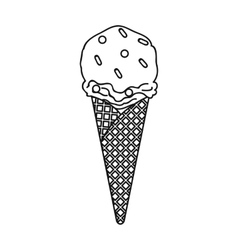 Ice cream in waffle cone icon in outline style vector image