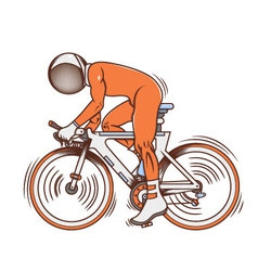Isolated cartoon astronaut futuristic bicycle race vector image