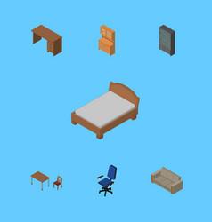 Isometric design set of sideboard table cupboard vector