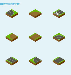 Isometric way set of asphalt bitumen flat and vector