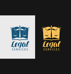 Legal services logo notary justice lawyer icon vector