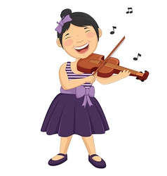 Of a little girl playing violi vector