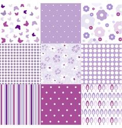 Seamless vintage floral background set vector image