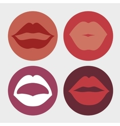 Set lips female d icons vector