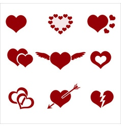 Set of red valentine hearth love symbols eps10 vector
