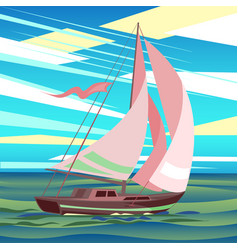 Stylized sea landscape with sailboat floating on vector