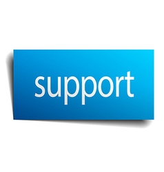 Support blue paper sign on white background vector