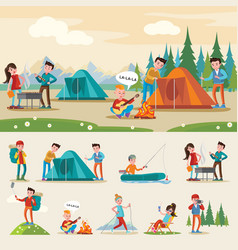 Traveling camping composition vector