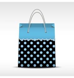Vintage shopping bag in retro polka dots vector image vector image