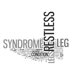 What is restless leg syndrome text word cloud vector