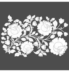 White roses and leaves on a gray background vector image