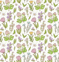 Wild floral colorful seamless pattern background vector