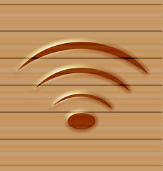 wireless web icon wooden background vector image vector image