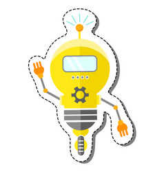Yellow cartoon robot character vector