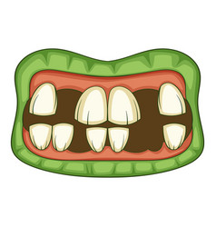 Zombie teeth icon cartoon style vector