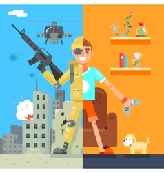Gamer soldier immersion virtual reality icon vector