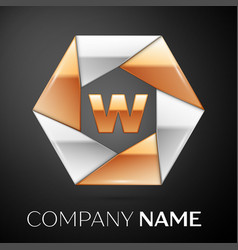 Letter w logo symbol in the colorful hexagon on vector