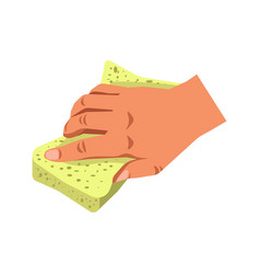 Human hand holding sponge tool isolated on white vector