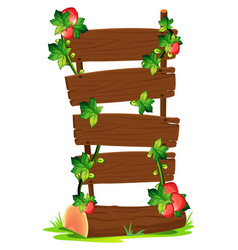 Wooden boards and strawberries vector