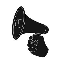 Speaker for voice enhancement megaphone in hand vector