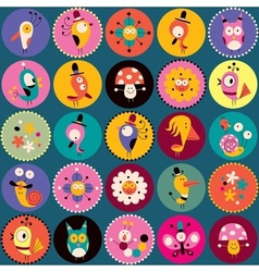 Flowers birds mushrooms snails characters circles vector