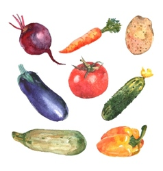 Watercolor vegetables set vector