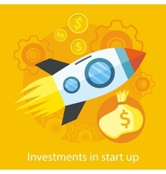Launching new product start up rocket idea icon vector