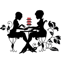 Two silhouettes of woman in manicure process vector