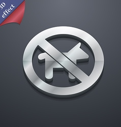 Dog walking is prohibited icon symbol 3d style vector
