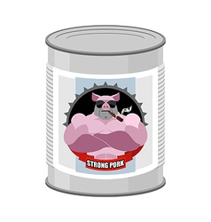 Canned pork canned food from a serious and strong vector