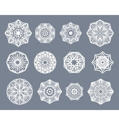 Mandalas set White snowflakes isolated on gray vector image