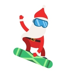 Cartoon extreme Santa snowboarder winter sport vector image