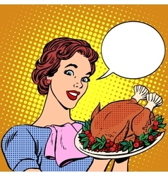 Woman with a christmas turkey thanksgiving vector