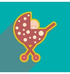 Modern flat icon with long shadow baby in stroller vector