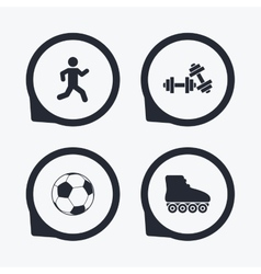 Football ball roller skates running icons vector
