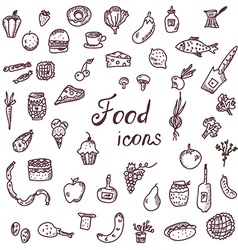 Handdrawn food icons funny style set vector