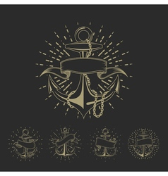 Anchor maritime sailor tattoo set or vintage vector image vector image