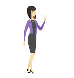 asian business woman showing victory gesture vector image vector image
