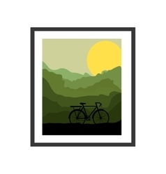 Colorful picture frame with bicycle and sun vector
