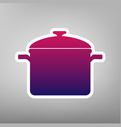 Cooking pan sign purple gradient icon on vector