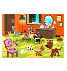 Family of cats and dogs in the house vector image vector image
