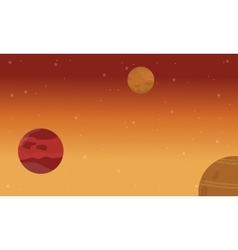 Flat of planet on space landscape vector