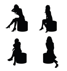 Girl lady silhouette sitting in black color vector