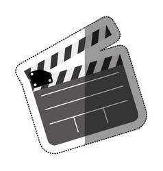 Grayscale sticker with clapperboard cinema vector