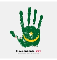 Handprint with the flag of mauritania in grunge vector