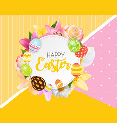 Happy easter cute background with eggs vector