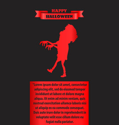 Happy halloween poster with silhouette of zombie vector