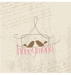 honeymoon love birds card vector image vector image