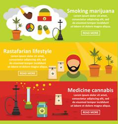 marijuana banner horizontal set flat style vector image